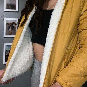 yellow fuzzy puffer jacket
